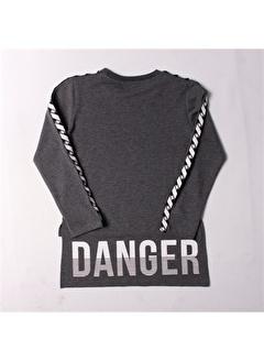 Toontoy Toontoy Danger Criminal Baskılı İki Kolu Şeritli Melanj Kız Çocuk Tişört